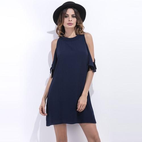 Sexy Kobiety Szyfonowa mini sukienka z litego rękawy Off ramię O-Neck Połowa Elegancka Sukienka Ciemnoniebieski