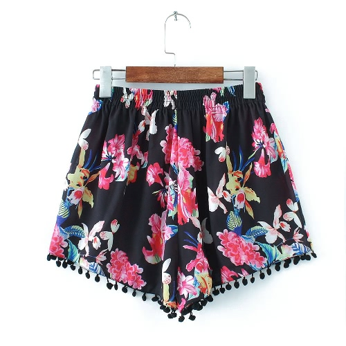 Sexy Fashion Frau Shorts mit Blumenmuster Quaste elastische Taillen-elegante beiläufige Vintage Hose Schwarz