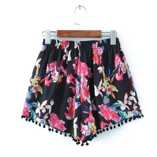 Sexy Kobieta Moda Spodenki Floral Print Tassel elastyczny pas Elegant Casual Vintage Spodnie Czarny