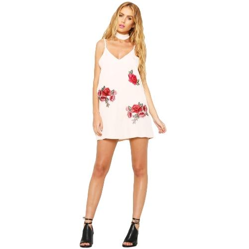 Las nuevas mujeres atractivas que el resbalón del bordado del vestido floral de la zambullida V del cuello del ahogador de espagueti sin mangas de la correa del mini vestido blanco / Negro