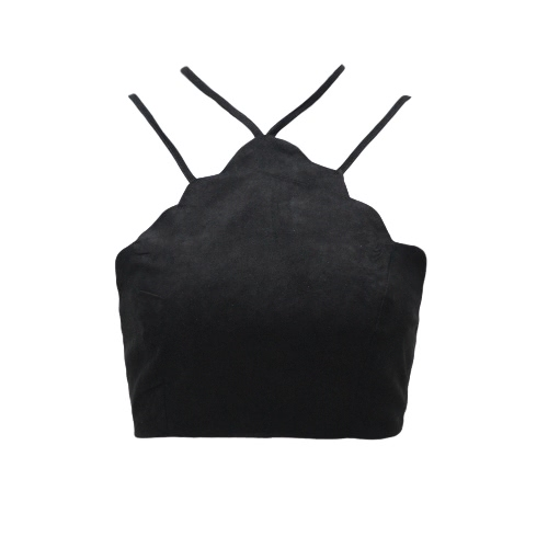 Женщины Suede Crop Top Cross выдалбливают Бюстье Bralette Узелок Backless Camis жилет черный / Camel