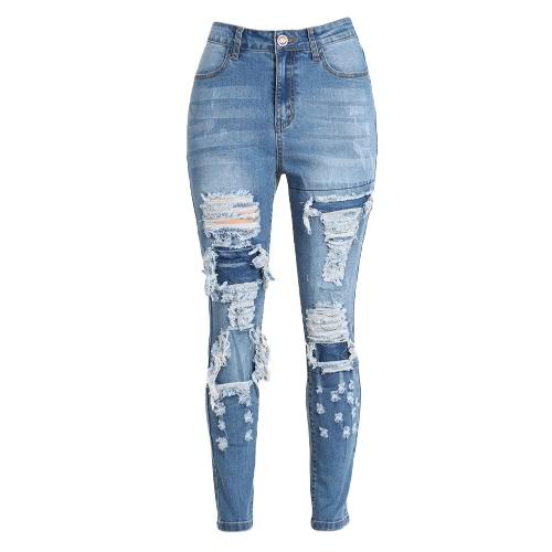 Frauen-Denim-dünne Jeans Washed zerrissene Loch Hosen Flecken mittlere Taille beiläufige Bleistift dünne Hose Blau
