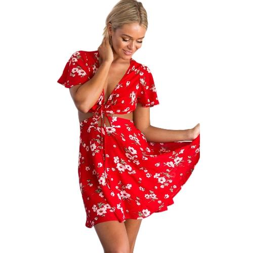 Mini vestido de gasa de las mujeres atractivas Flora Print Lace Up Backless escote profundo con cuello en V manga corta Elegante vestido de una línea de vestir rojo
