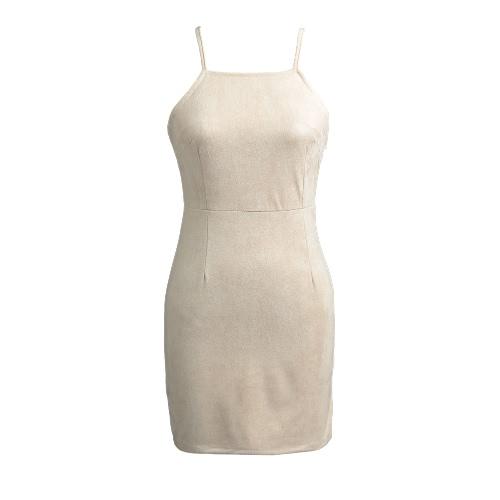 Vestido de las mujeres del ante ata para arriba detrás sin mangas de los espaguetis del partido de la envoltura de la correa del mini vestido del lápiz