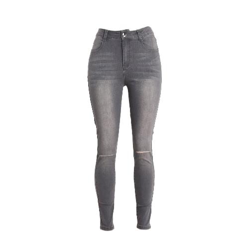 Mulheres Ripped Jeans Denim afligido destruído furo Lavado Calças justas Lápis Calças justas cinzentas