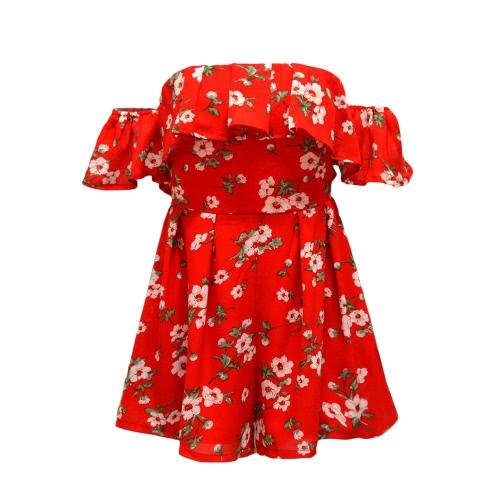 Verão Mulheres fora do ombro Floral Ruffle impressão macacãozinho Macacão casual e elegante Curto Playsuit macacões vermelhos