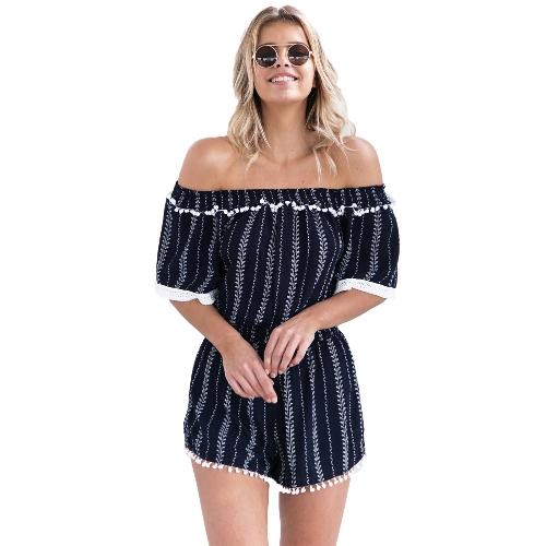 Sexy Women Off Shoulder Jumpsuit Vertical Striped Pom-Pom Half Sleeve Summer Beach Short Playsuit Romper Dark Blue