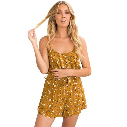 Nueva Sexy Women Jumpsuit estampado floral con volantes correa de espagueti sin mangas con cinturón Culotte Mini Slip vestido azul oscuro / amarillo