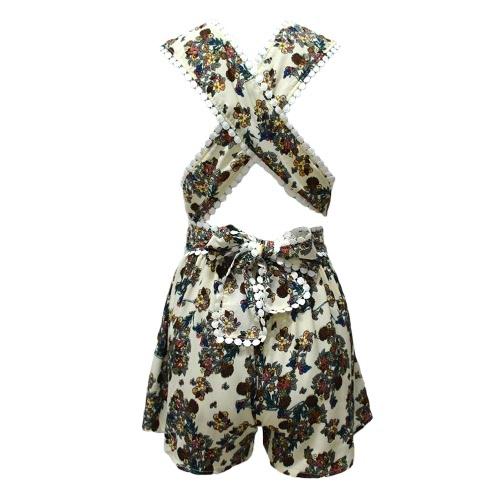 Las mujeres del verano del mono V del cuello de la correa floral Playsuit vendaje cruzado mamelucos sin mangas Cortos blanco / amarillo