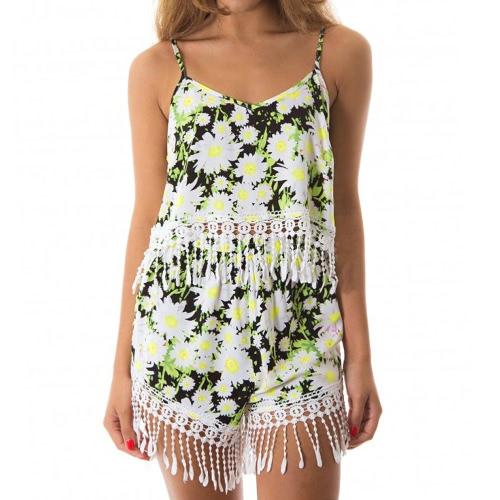 New Mulheres Verão Floral Shorts Imprimir Borla soltos Shorts Elastic cintura Casual Praia Hot Pants Branco