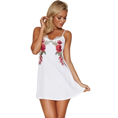 Mujeres New Sexy mini vestido floral con cuello en V sin respaldo del partido de la correa del bordado del cordón del club nocturno Una línea de vestidos de Negro / Blanco