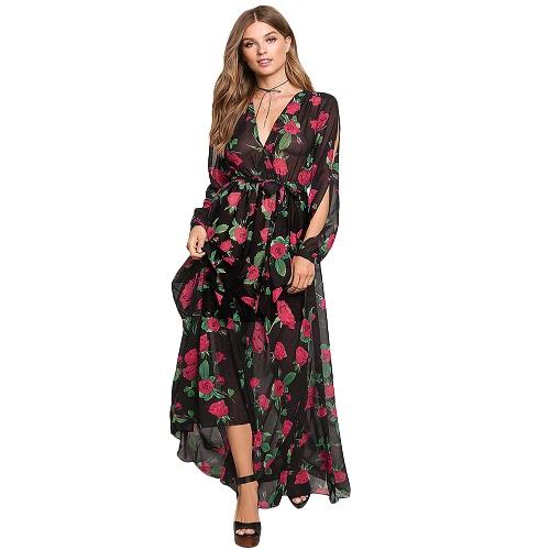 Las mujeres atractivas del vestido maxi de la gasa floral Sheer Cruz con cuello en V manga fotografica elástico de la cintura de Boho del vestido largo Negro