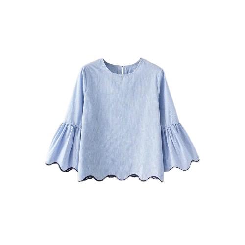 女性ストライプブラウストップ刺繍スカラップトリムフレア袖ボタンバックルーズカジュアルトップシャツブルー