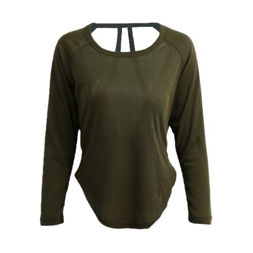 Coreano modo delle donne Slouchy maglietta lavorato a maglia Backless bordo irregolare Pullover cime viola / verde Amy