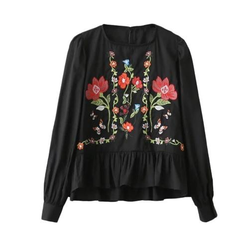 Nova Moda Mulheres Blusa bordado floral Ruffles Hem O-Neck mangas compridas Pullover Vintage Top Black / White Elegant