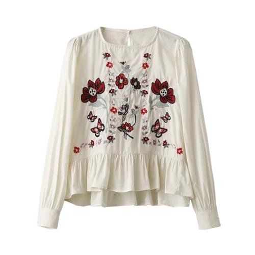 Las nuevas mujeres blusa de flores bordado riza Hem O-Cuello de manga larga Suéteres elegante del vintage Top Negro / Blanco