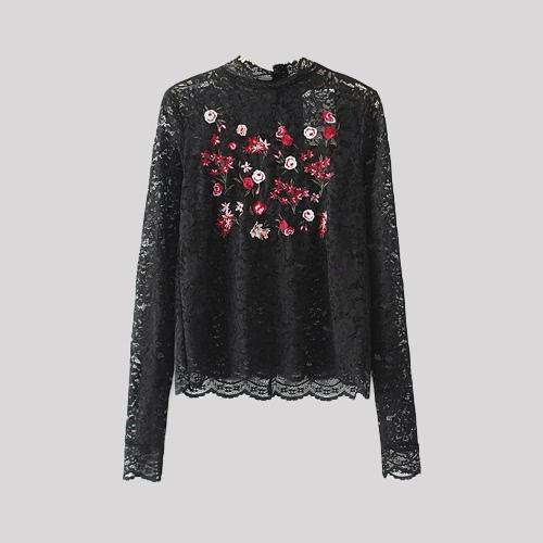 Top Preto New Sexy Mulheres Blusa Sheer Lace Floral Bordados mangas compridas Pullover Vintage elegante