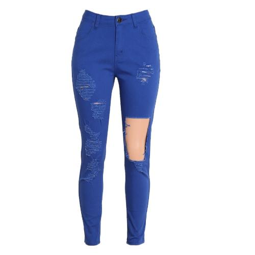 Nowe Seksowne Kobiety Denim Jeans Ripped Hole Rajstopy wysoką talią Skinny BODYCON Pants Ołówek Spodnie