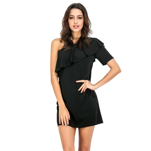 Robe Femmes Solid Color One Shulder Ruffle Overlay Mini élégant Party Club Cocktail robe noire