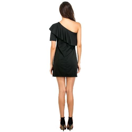 Women Dress Solid Color One Shulder Asymmetric Ruffle Overlay Mini Elegant Party Club Cocktail Dress Black