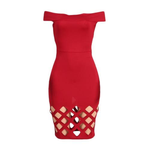 Las mujeres atractivas Midi Vestido ajustado sólido Hombro Hollow mangas cortas fuera elegante del partido de Clubwear del vestido