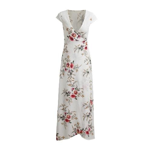 Las mujeres Maxi vestido de la impresión floral delantero cruzado cuello en V manga del casquillo de la correa de la cintura con cordones del oscilación del vestido blanco