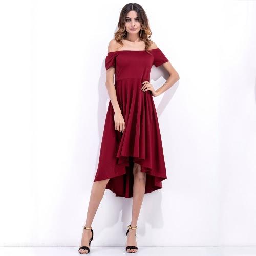 Vestido de las mujeres del hombro sólido de la raya vertical del cuello alto de la cintura asimétrica de noche elegante del club del partido de una sola pieza Borgoña / Negro