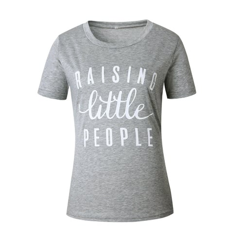 Mulheres Nova Moda Verão T-shirt Carta Imprimir O-Neck mangas curtas desporto ao ar livre Top Casual