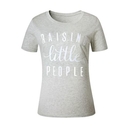 Las mujeres de la nueva manera del verano de la camiseta de la letra de impresión del O-cuello de manga corta deporte al aire libre superior ocasional