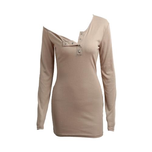Mulheres Bodycon T-shirt vestido fora do botão de ombro ombro Uma Frente mangas compridas Stretchy Tee vestido