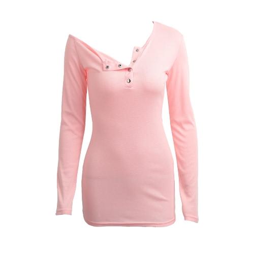 Las mujeres de Bodycon de la camiseta del vestido del botón del hombro del hombro uno de los frentes largas mangas elástico vestido de la te