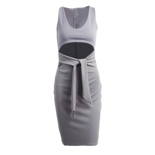Mulheres Sexy Vestido Plunge V-neck mangas cintura oco Out Nightclub Bodycon Midi vestido Borgonha / cinza / preto