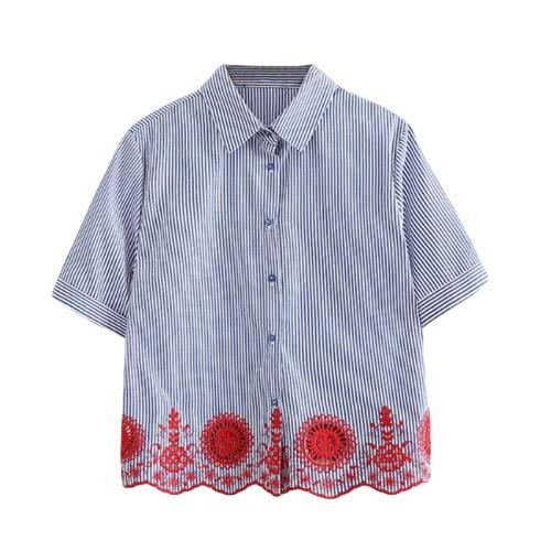 Nueva raya de las mujeres camisa de la blusa del bordado del hueco hacia fuera el botón de manga corta blusa ocasional Tops Azul