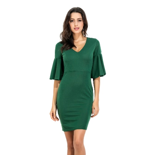 Las mujeres de la llamarada de la manga vestido de cuello en V manga mitad de cintura alta de la mini envoltura Vestido lápiz verde