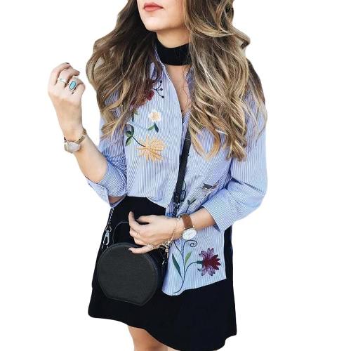 New Mulheres Moda Floral Blusa bordado 3/4 mangas abotoado Stripe camisa azul