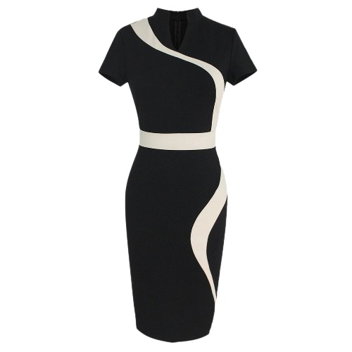 Estate donne vestito elegante Splice di contrasto di colore del collare del  basamento manica corta vestito f4b35181a98