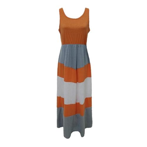 Nueva familia de las mujeres rayó el vestido largo sin mangas del bloque del color de Bohemia de la playa vestido ocasional Vestido de tirantes