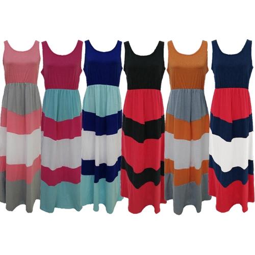 Новое семейство женщин полосатой длинное платье без рукавов цвета Блок Bohemian вскользь платья пляжа Sundress фото