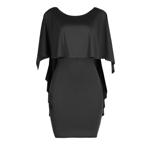 Sexy Mulheres Bodycon Party Dress Ruffle Layered meia manga Sólidos Casual Clubwear Mini Vestido justo