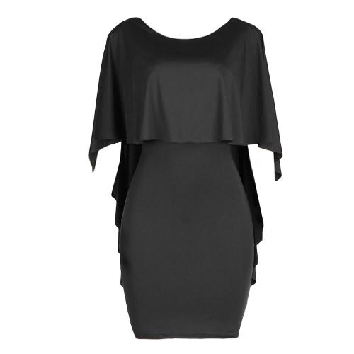 Parte de Bodycon del vestido atractivo de las mujeres volante capas media manga ocasional sólida de Clubwear del mini vestido del lápiz
