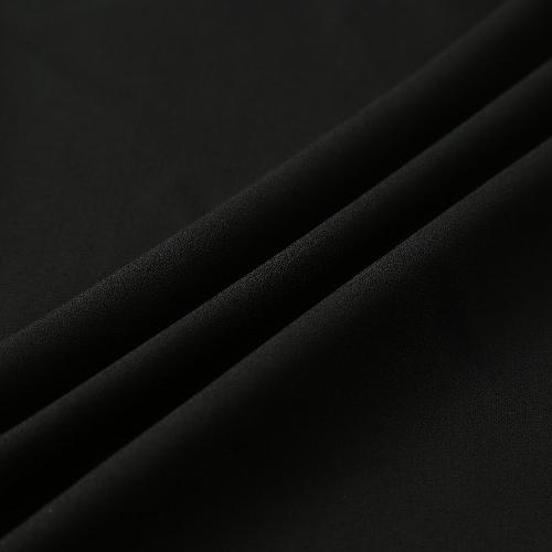 Las mujeres de gasa fuera del hombro Atado al cuello del O-Cuello del arco acanalada blusa ocasional Top Negro / Blanco