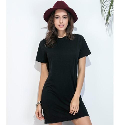 Verano de las mujeres de la camiseta Vestido Vestido de tirantes de cuello redondo casual mini vestido de manga corta Negro Sólido
