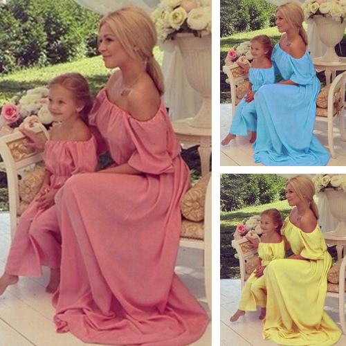 Women Chiffon Maxi Dress Family Matching Outfits Mother Daughter Dress Mommy and Me Clothes Parents Kids Long Dress