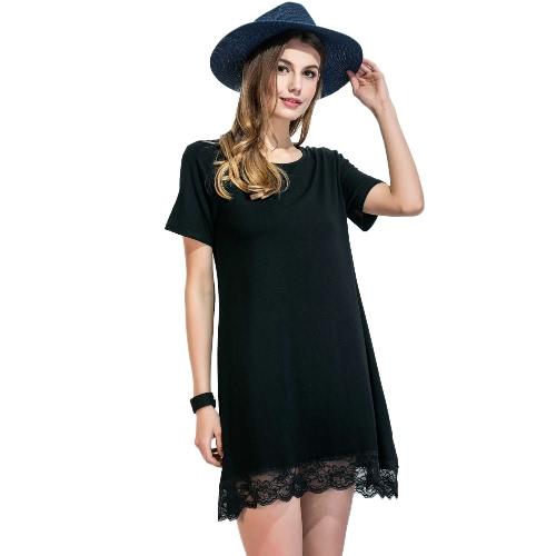 Mulheres T-shirt Hem Lace Vestido O Neck mangas curtas Scalloped Hetero Casual Mini Vestido Solto Preto