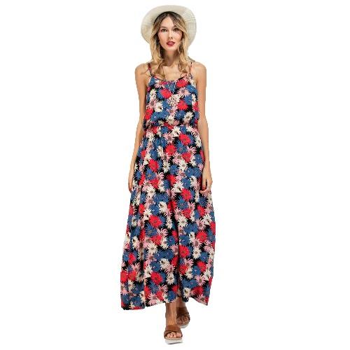 Neue Frauen-lange-Beleg-Kleid-Blumendruck Spaghetti-Bügel-Backless Sleeveless beiläufige Bademode Maxi Sundress Red