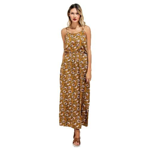 Nuevas Mujeres Long Slip vestido de la impresión floral de espagueti Backless sin mangas de la correa ocasional de ropa de playa Maxi vestido amarillo