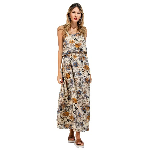 Nuevas Mujeres Long Slip vestido de la impresión floral de espagueti Backless sin mangas de la correa ocasional de ropa de playa Maxi Vestido de tirantes azul