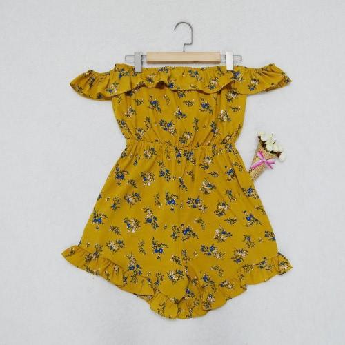 Mujeres Mono corto de la impresión floral de la raya vertical del cuello del hombro elástico de cintura alta sin respaldo atractivo elegante mono amarillo