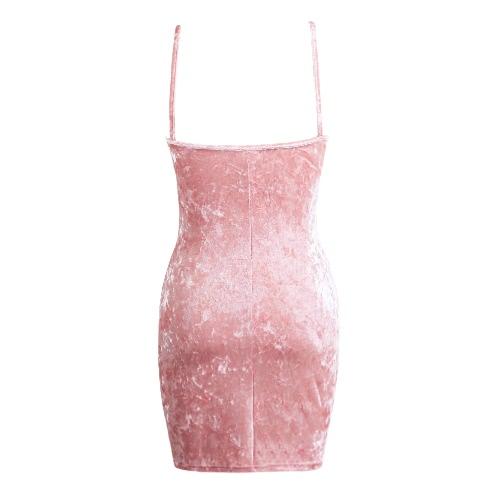 Sexy Frauen-Samt-Kleid-Bügel-Hals Plunge Ansatz Backless Bodycon Nachtclub-Party Mini-Bleistift-Kleid Rosa / Burgund