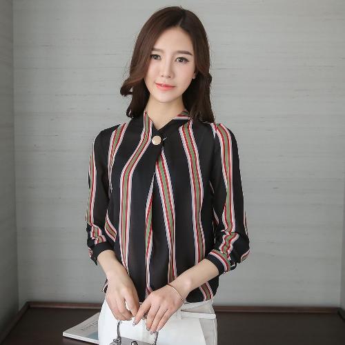Elegant Women Blouse Plus Size Stripe Print Button Stand Collar Long Sleeve Loose Office Lady Workwear